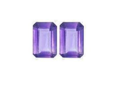 Amethyst Pair of 7x5 mm Octagon-Emerald-Radiant Cut  Loose Gemstones