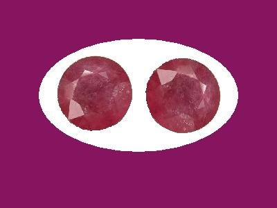 Pair of Rubies 9mm Round Cut Loose Gemstones