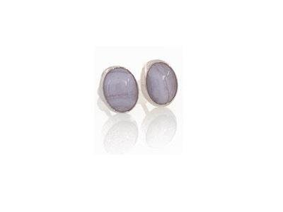 0440-4 NEW Light Grey Oval Agate Sterling Silver Earrings