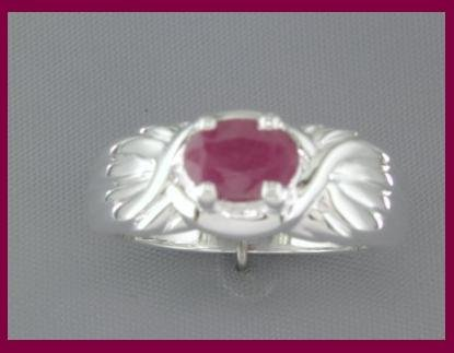 3243: NEW 1ct RUBY Wide Band Sterling Silver Ring SIZE 6