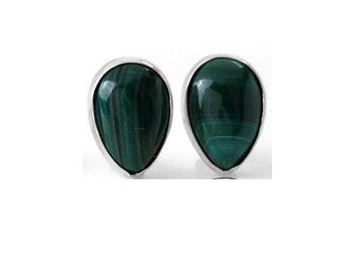 601618-3  Pear Cabochon Green Malachite Stud Sterling Silver Earrings