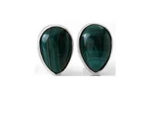 601618-3  Pear Cabochon Green Malachite Stud Sterling Silver Earrings