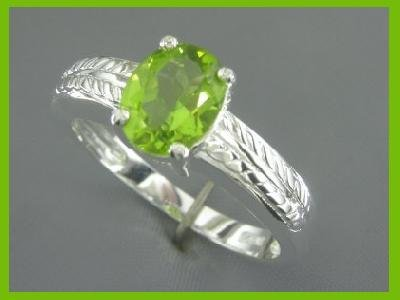 2750-1 Oval 2CT Peridot Solitaire Sterling Silver Ring size 8.75