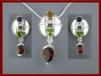 1704-1500 NEW Multi-gem Sterling Silver Earrings & Necklace Set