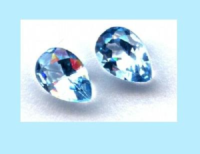 Set of 2 Light Swiss Blue Topaz 8x5mm Pear Cut Loose Gemstones