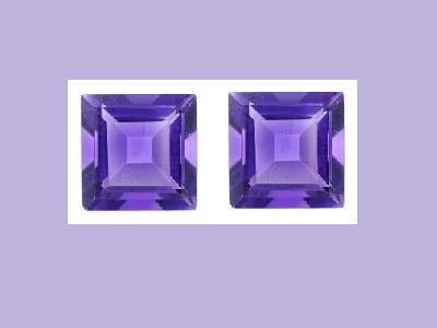 Amethyst Pair 8x8mm Princess Cut Loose Gemstone