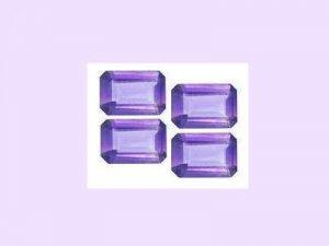 Set of 4 Amethyst 5ctw 6x4mm Emerald, Oblong, or Radiant Cut Loose Gemstones
