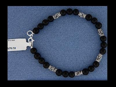 "NEW Black Onyx Sterling Silver Beads 7.75"" Bracelet"