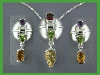 NEW Multi-gem Sterling Silver Earrings & Necklace Set