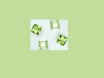 Set of 4 Peridot Princess 5x5mm Square Cut Loose Gemstone