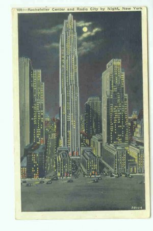73606 NY New York City Rockefeller Center by night Postcard