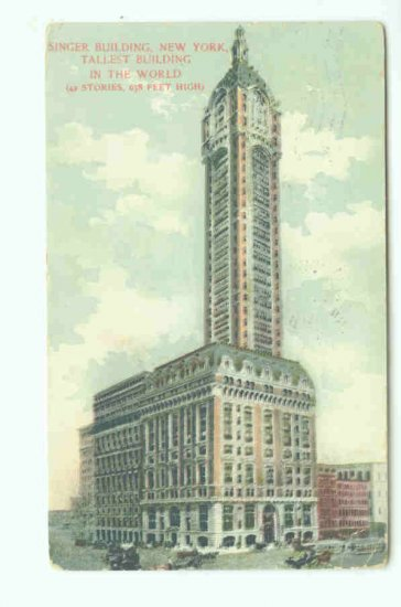 73615 NY New York City Singer Building 1907 Postcard