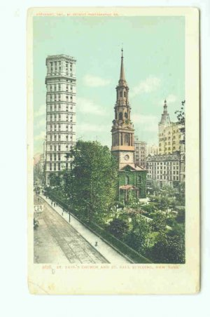 73624 NY New York City Vintage Postcard St. Paul's Church