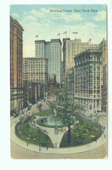 73627 NY New York City Vintage Postcard Bowling Green 1922