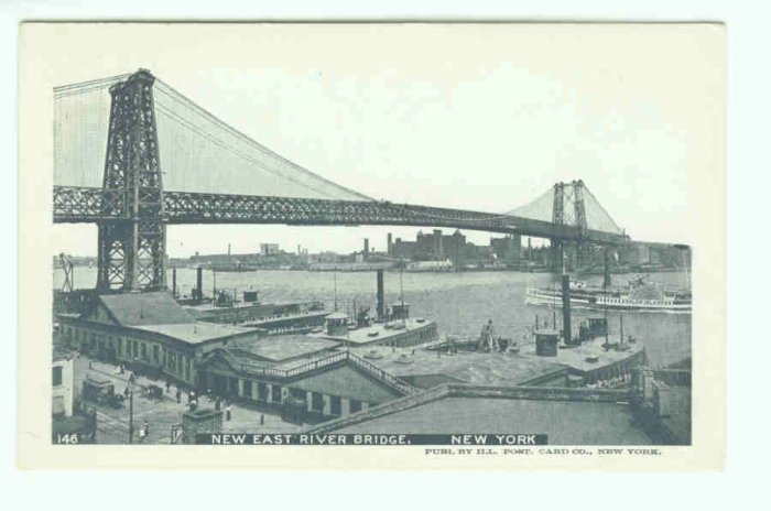 73631 NY New York City Vintage Postcard East River Bridge