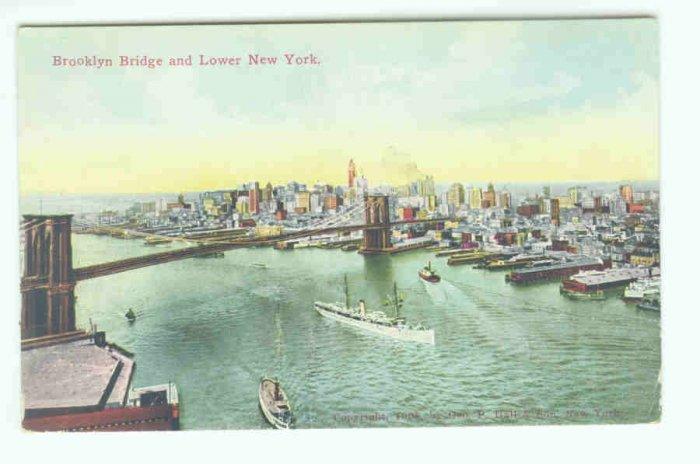 73633 NY New York City Vintage Postcard Brooklyn Bridge 1908