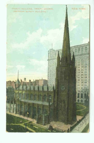 73638 NY New York City Vintage Postcard Trinity Church 1910