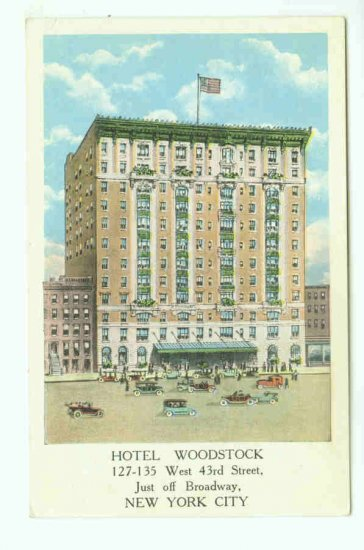 73639 NY New York City Vintage Postcard Hotel Woodstock