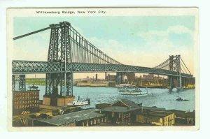 73640 NY New York City Vintage Postcard Williamsburg Bridge