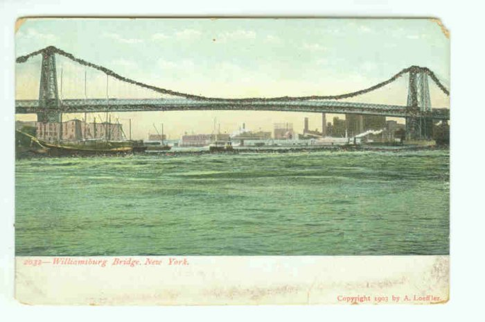 73644 NY New York City Vintage Postcard Williamsburg Bridge 1903