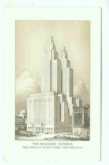 73645 NY New York City Vintage Postcard  Waldorf Astoria Hotel
