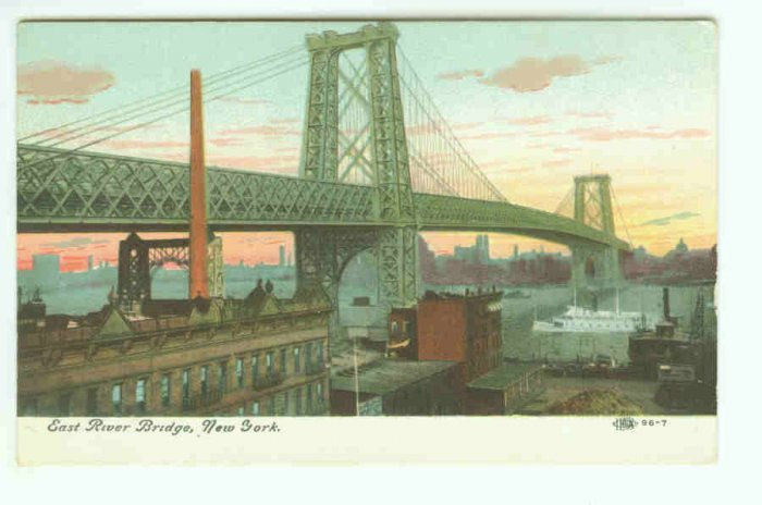 73657 East River Bridge NY New York City Vintage Postcard  1910 era