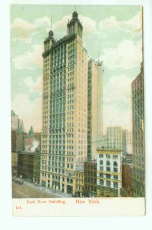 73660 NY New York City Vintage Postcard Park Row Building Early