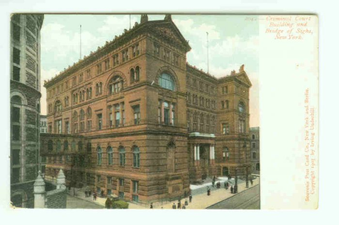 NY New York City Vintage Postcard Criminal Court Building and Bridge of Sighs