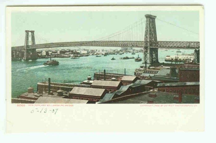 73665 NY New York City Vintage Postcard 1904 Williamsburg Bridge