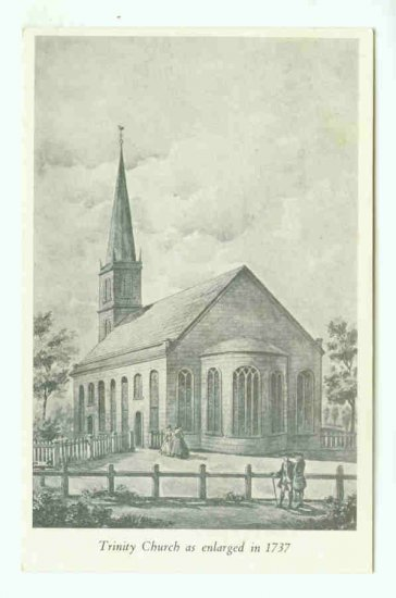 NY New York City Vintage Postcard Trinity Church as Enlarged in 1737