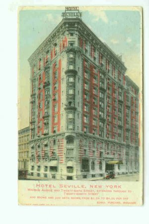 73679 NY New York City Vintage Postcard Hotel Seville 1909