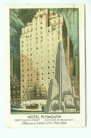 73682 NY New York City Vintage Postcard Hotel Plymouth 1943