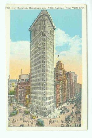 73689 NY New York City Vintage Postcard Flat Iron Building Fifth Avenue