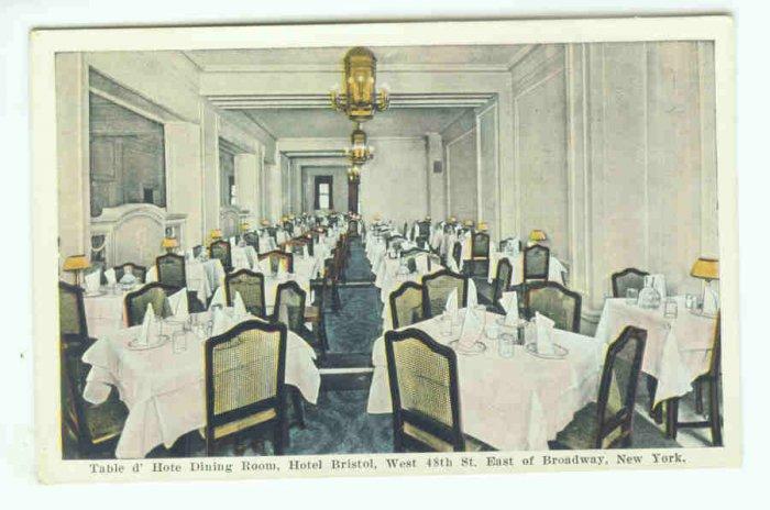 73690 NY New York City Vintage Postcard  Dining Room Hotel Bristol