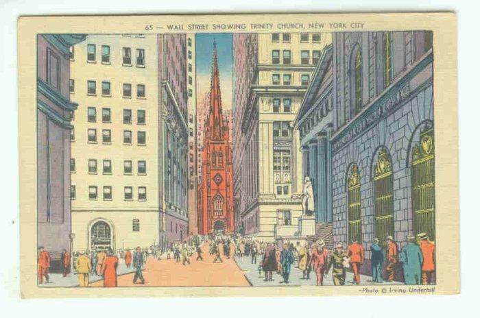 73692 NY New York City Vintage Postcard Wall Street Trinity Church