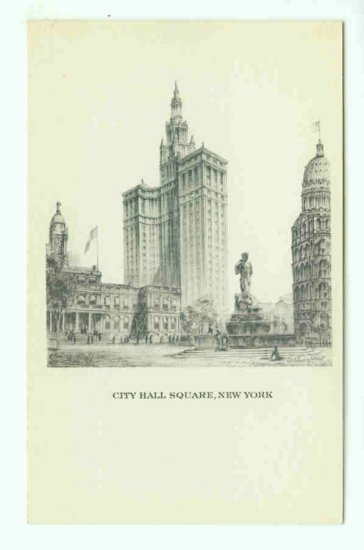73699 NY New York City Vintage Postcard City Hall Square