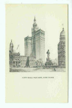 73699 NY New York City Vintage Postcard City Hall Square
