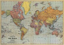 Vintage World Map Poster by Cavallini Decoupage paper print  20 x 28 inches