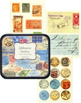 Ephemera Vintage Decorative Labels Stickers in Tin Cavallini Papers