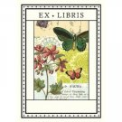 Cavallini Bookplate Ex Libris  Flora Fauna Butterfly