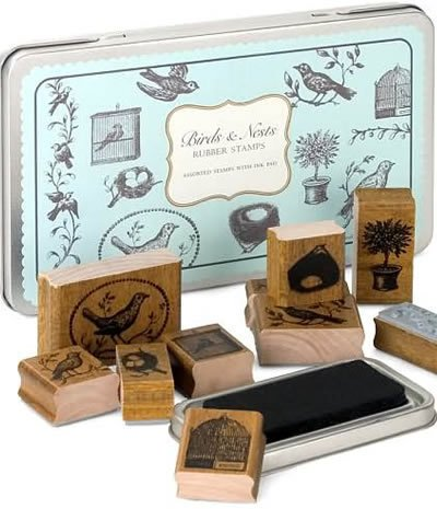 Birds & Nests Rubber Stamp Set in a Tin by Cavallini & Co. Vintage