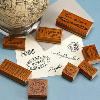 Vintage Par Avion Rubber Stamp Set by Cavallini & Co.12 wood mounted rubber stamps in tin box