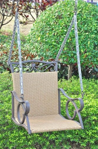 International Caravan Valencia Wicker Resin Outdoor Porch Swing New!