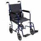 "Roscoe KT19BL 19"" Steel Transport Wheelchair Blue"