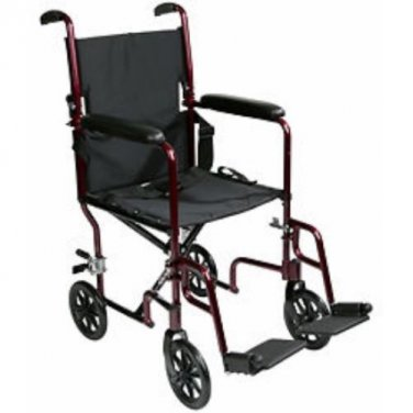 Roscoe, Aluminum Transport Chair, Burgundy
