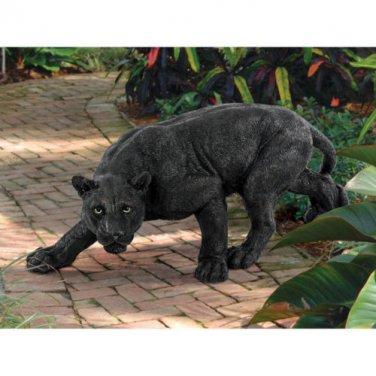 Shadowed Predator - Black Panther Garden Statue Big Cat Yard Art Sculpture NEW