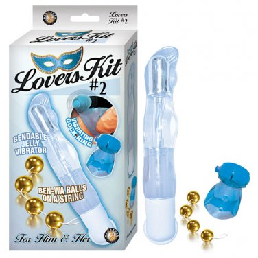 Lovers Kit 2 Includes 1 Bendable Vibe Vibrating Cockring Ben-Wa Balls Blue&Gold