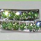 Ladies RING Imitation GREEN PERIDOT SWAROVSKI CRYSTALS,Size 6, WHITE GOLD Plated New