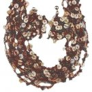Chocolate Sequins & Seed Beads Necklace Earrings Set New