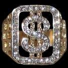 Thug Bling Dollar Sign Ring Hip Hop Iced Casino  Size 10 Poker Money New